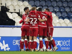Bristol City players celebrate after Jamie Paterson's goal against Huddersfield Town on November 3, 2020