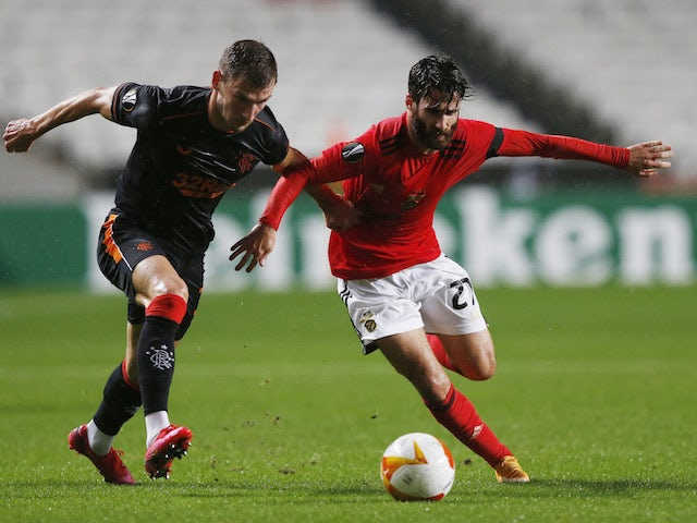 Benfica's Rafa Silva in action with Rangers' Borna Barisic in the Europa League on November 5, 2020