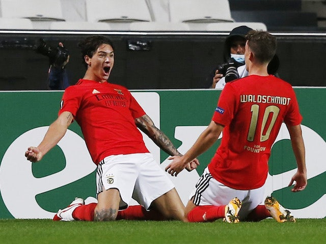 Benfica's Darwin Nunez celebrates with a teammate after scoring against Rangers on November 5, 2020
