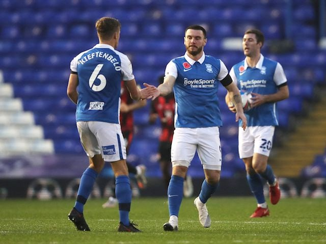 Birmingham City's Scott Hogan celebrates scoring on November 7, 2020