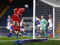 Middlesbrough's Dael Fry misses a chance against Blackburn Rovers on November 3, 2020