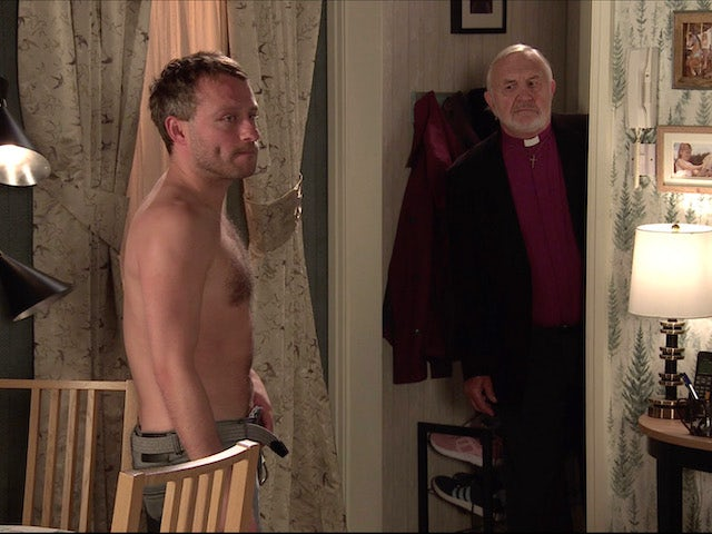 Paul and the bishop on the second episode of Coronation Street on November 9, 2020