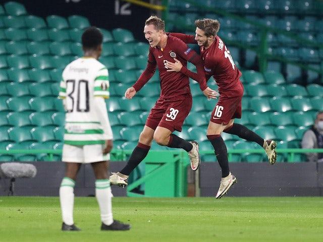 Sparta Prague's Lukas Julis celebrates scoring against Celtic in the Europa League on November 5, 2020