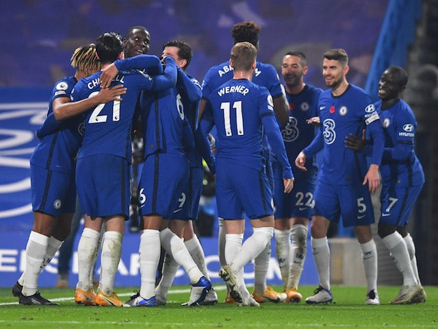Chelsea players celebrate scoring against Sheffield United on November 7, 2020