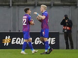 CSKA Moscow's Adolfo Gaich celebrates scoring against Wolfsberger in the Europa League in October 2020