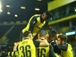 Young Boys players celebrate scoring against CSKA Sofia in the Europa League on November 5, 2020