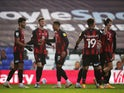 David Brooks celebrates with teammates after scoring for Bournemouth against Birmingham City in the Championship on November 7, 2020
