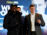 Dillian Whyte and Alexander Povetkin pose together in March 2020