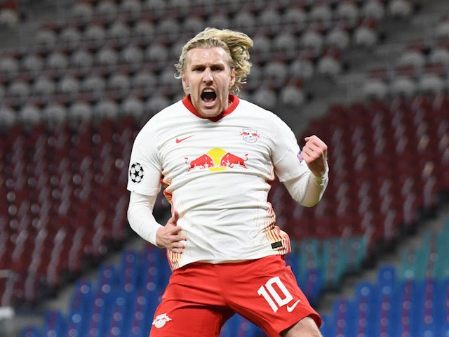Emil Forsberg celebrates scoring for RB Leipzig on November 4, 2020