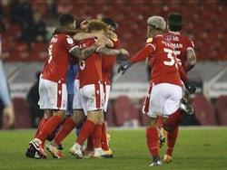 Nottingham Forest's Scott McKenna celebrates with teammates after scoring against Coventry City on November 4, 2020