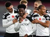 Fulham's Ola Aina celebrates scoring against West Bromwich Albion in the Premier League on November 2, 2020
