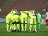Gent players in a huddle before their Europa League meeting with Red Star Belgrade on November 5, 2020