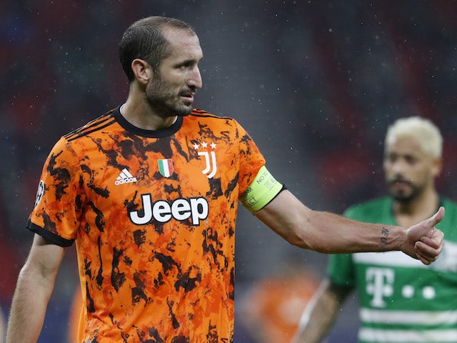 Juventus defender Giorgio Chiellini pictured in Champions League action on November 4, 2020