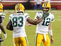 Green Bay Packers duo Aaron Rodgers and Marquez Valdes-Scantling pictured against the 49ers in November 2020