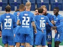 Hoffenheim players celebrate their opening goal against Slovan Liberec on November 5, 2020