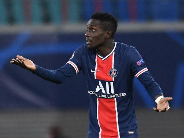 Paris Saint-Germain PSG midfielder Idrissa Gueye reacts to being shown a red card against RB Leipzig on November 4, 2020