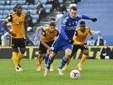 Leicester City's Jamie Vardy scores against Wolverhampton Wanderers in the Premier League on November 8, 2020