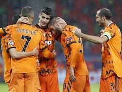 Juventus players celebrate Alvaro Morata's second goal against Ferencvaros on November 4, 2020