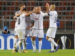 Husein Balic of LASK Linz celebrates scoring against Ludogorets in October 2020