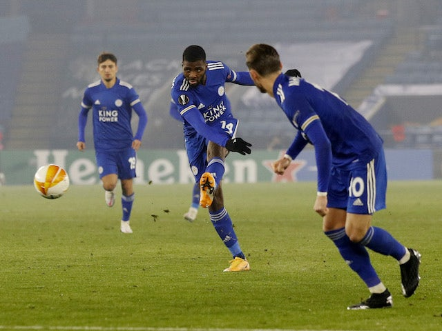 Leicester City's Kelechi Iheanacho scores against Braga in the Europa League on November 5, 2020