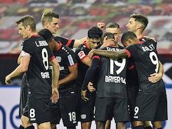 Bayer Leverkusen players celebrate Lucas Alario's goal against Borussia Monchengladbach on November 8, 2020