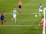 Lionel Messi scores for Barcelona against Real Betis on November 7, 2020