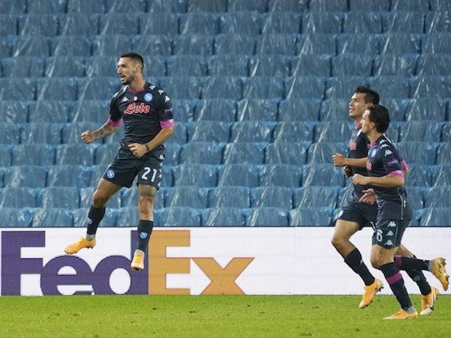 Napoli's Matteo Politano celebrates scoring against Real Sociedad in the Europa League in October 2020