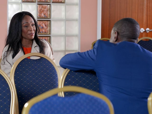 Denise and the pastor on EastEnders on November 12, 2020