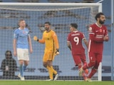 Manchester City Kevin De Bruyne reacts to missing a penalty against Liverpool on November 8, 2020