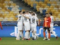 Borussia Monchengladbach players celebrate after Alassane Plea scores against Shakhtar Donetsk on November 3, 2020