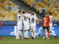 Borussia Monchengladbach players celebrate after Alassane Plea scores against Shakhtar Donetsk on November 3, 2020