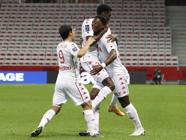 Monaco's Axel Disasi celebrates with teammates after scoring against Nice on November 8, 2020