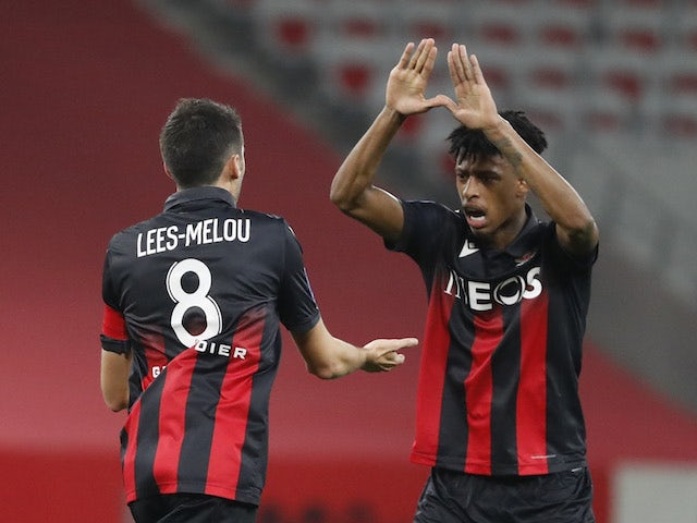 Nice's Pierre Lees-Melou celebrates with teammates after scoring against AS Monaco on November 8, 2020