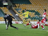Norwich City's Emiliano Buendia goes for the ball against Millwall on November 3, 2020