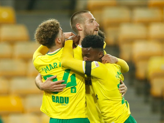 Norwich City's Marco Stiepermann celebrates after scoring against Swansea City in the Championship on November 7, 2020
