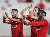 Sivasspor's Olarenwaju Kayode celebrates scoring against Qarabag in the Europa League on November 5, 2020
