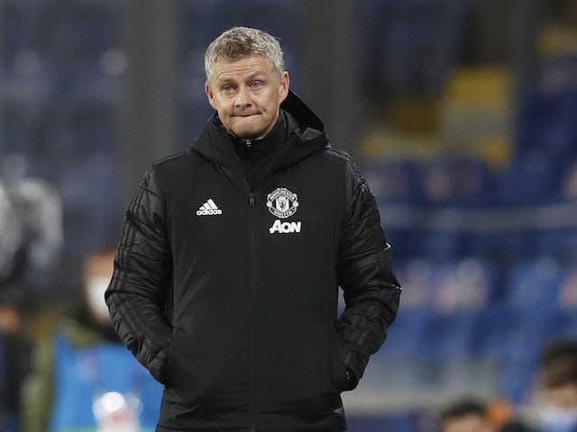 Manchester United manager Ole Gunnar Solskjaer looks dejected after seeing his side lose to Istanbul Basaksehir on November 4, 2020