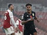 Aston Villa's Ollie Watkins celebrates scoring against Arsenal in the Premier League on November 8, 2020