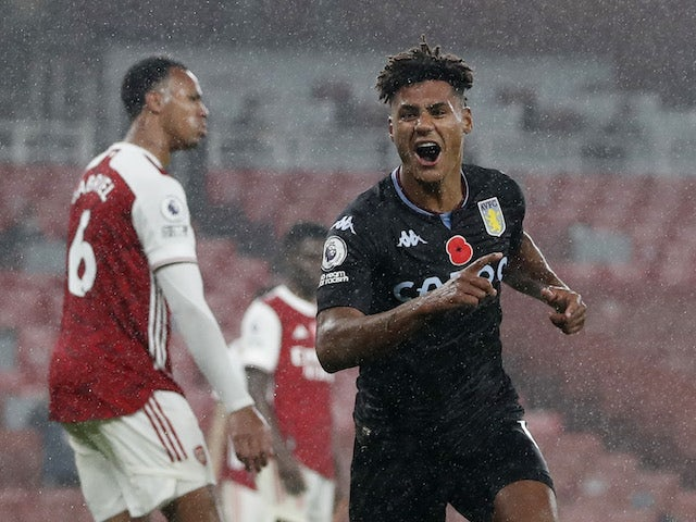 Aston Villa's Ollie Watkins celebrates scoring against Arsenal in the Premier League on November 8, 2020