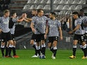 PAOK's Christos Tzolis celebrates with teammates after scoring against PSV Eindhoven on November 5, 2020