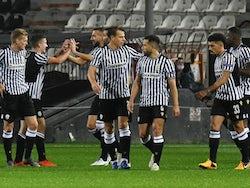 PAOK's Christos Tzolis celebrates with teammates after scoring against PSV Eindhoven on November 5, 2020