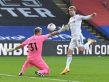 Patrick Bamford scores a disallowed goal for Leeds against Crystal Palace in the Premier League on November 7, 2020