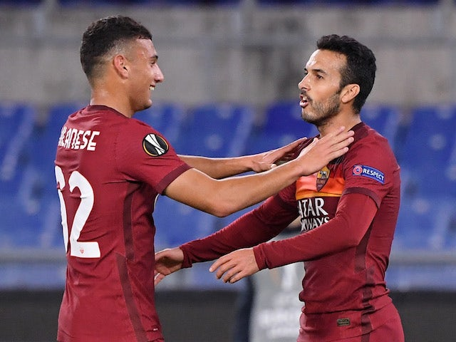 Roma forward Pedro celebrates with Tommaso Milanese after scoring against CFR Cluj on November 5, 2020