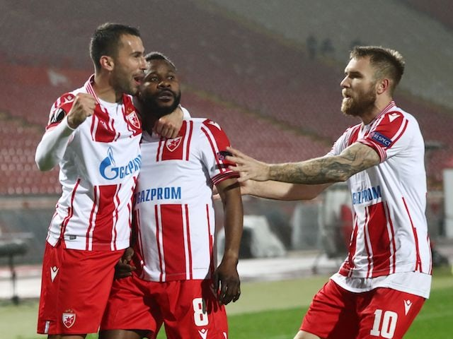 Red Star Belgrade's Guelor Kanga celebrates with teammates after scoring against Gent on November 5, 2020