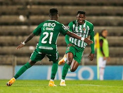 Rio Ave players Gelson and Carlos Mane celebrate after scoring against AC Milan in the Europa League in October 2020