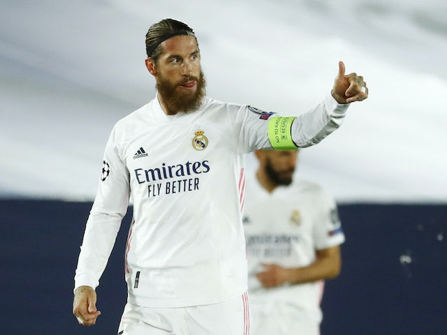 Sergio Ramos celebrates scoring for Real Madrid on November 3, 2020