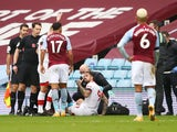 Southampton's Danny Ings goes down injured against Aston Villa in the Premier League on November 1, 2020
