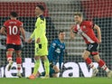 Southampton's Stuart Armstrong celebrates scoring against Newcastle United in the Premier League on November 6, 2020