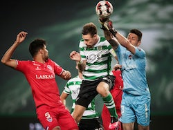Gil Vicente players Rodrigao and Denis challenge for the ball in July 2020