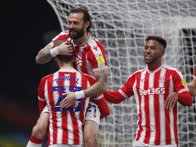 Stoke City players celebrate Steven Fletcher's goal against Watford on November 4, 2020